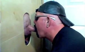 A glory hole fan has brought his team up to share one mouth