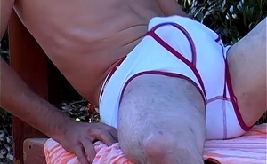 Mark strips in the woods and jacks not present in his white undies