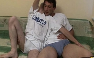 Hot felched gay team of two barebacks and Blowjob