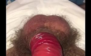 Condom wank in crinkly diaper