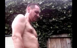 Sudden wank and cumshot in the garden