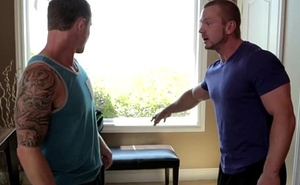 Straightforward hunk blows his sperm on muscular ass