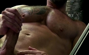 Mature lockerroom hunk Vic Rocco jerking cock
