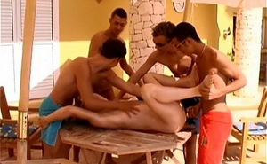 Guys Dominated One Lad Open-air Gangbang