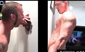 Tattooed muscled gay eats dick vulnerable gloryhole