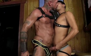 Cesar Xes has his cock in hand stroking it beside get beside Ray