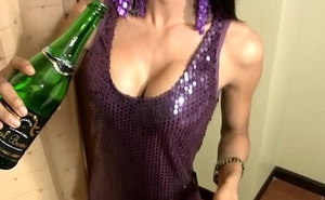Ladyboy inserts champagne bottle in penny-pinching ass and eats cock