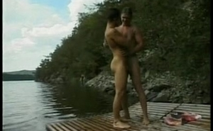 two hot men engage in hot sex in the sky a lake