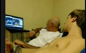 GUY STROKING WITH OLDER MAN