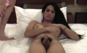Teen ladyboy with nice tits gets cumshot all over her horseshit