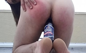 gringo gregory copulates beverage bottle anal sex whore on hostelry roof top public ass screwed american