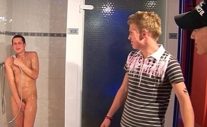 young twinks threesome in the shower