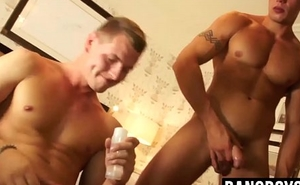 Three horny dudes jerking off and sucking each others dicks