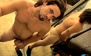 Horny handsome above-board thug jerking off his fat meat stick