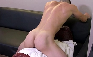 Patched soldier masturbating before cumshot