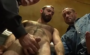 Mature Officiant having sex with 2 convicts- HairyDaddySex.com