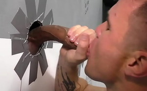 White crude sucks bbcs in gloryhole 3way