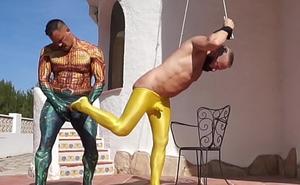 Aquaman bonks his spandex lovemaking related