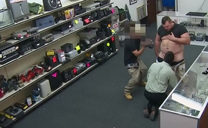 Pawnshop amateur drenched in cum for cash